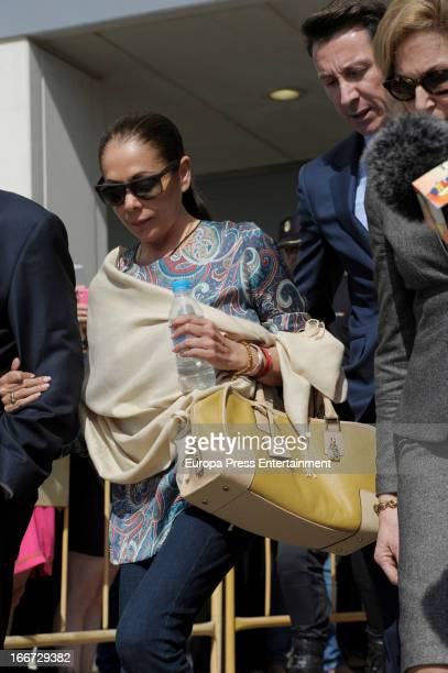 Spanish flamenco singer Isabel Pantoja leaves Malaga Court after hearing the tribunal's sentence for her trial for alleged money-laundering and...