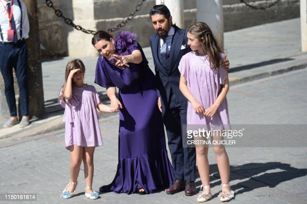 Spanish flamenco singer Nina Pastori and her family arrive at the Cathedral of Seville on June 15 2019 to attend the wedding ceremony of Real...