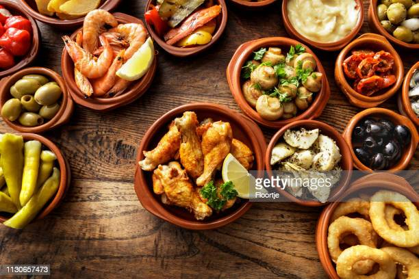 spanish food: tapas still life - spanish culture stock photos and pictures