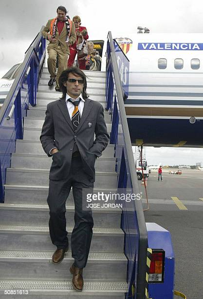 Spanish football club Valencia's Argentinian player Fabian Ayala arrives at Goteborg airport 18 May 2004 on the eve of their UEFA Cup final match vs...