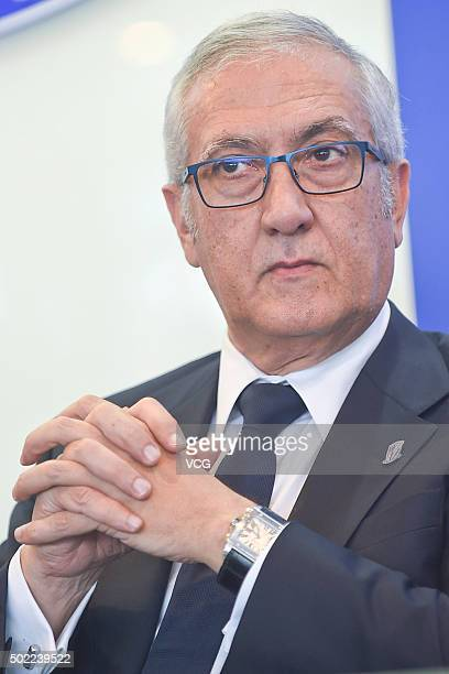 Spanish football manager Gregorio Manzano is appointed as the head coach of Shanghai Greenland Shenhua Football Club during a press conference ahead...