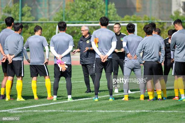 Spanish football manager Gregorio Manzano new head coach of Guizhou Hengfeng Zhicheng FC attends a training session on May 8 2017 in Guiyang China