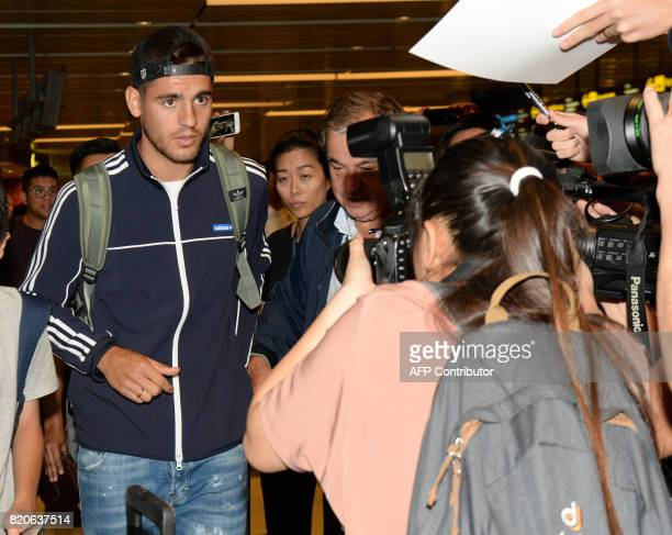 Spanish football player Alvaro Morata arrives at Changi International Airport in Singapore on July 22 2017 ahead of the 2017 International Champions...