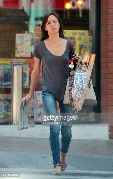 Spanish football player Andres Iniesta's girlfriend Anna Ortiz is seen visiting their new house on July 4 2012 in Barcelona Spain
