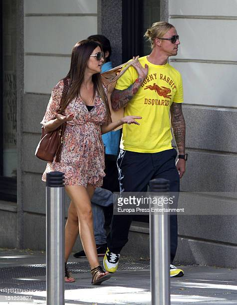 Spanish football player Guti and Argentinian Television presenter Romina Belluscio several months pregnant are seen on September 3 2012 in Madrid...