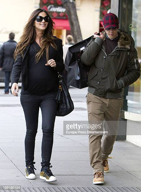 Spanish football player Jose Maria Gutierrez 'Guti' and argentinian model Romina Belluscio who is eight months pregnant are seen on December 21 2012...