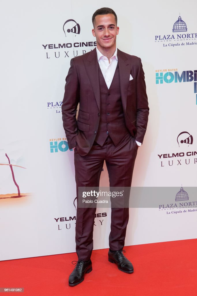Spanish football player of Real Madrid Lucas Vazquez attends the 'Hombre De Fe' premiere at Yelmo cinema on May 22, 2018 in San Sebastian de los Reyes, Spain.