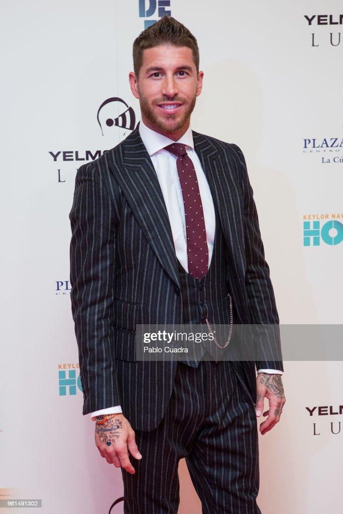 Spanish football player of Real Madrid Sergio Ramos attends the 'Hombre De Fe' premiere at Yelmo cinema on May 22, 2018 in San Sebastian de los Reyes, Spain.