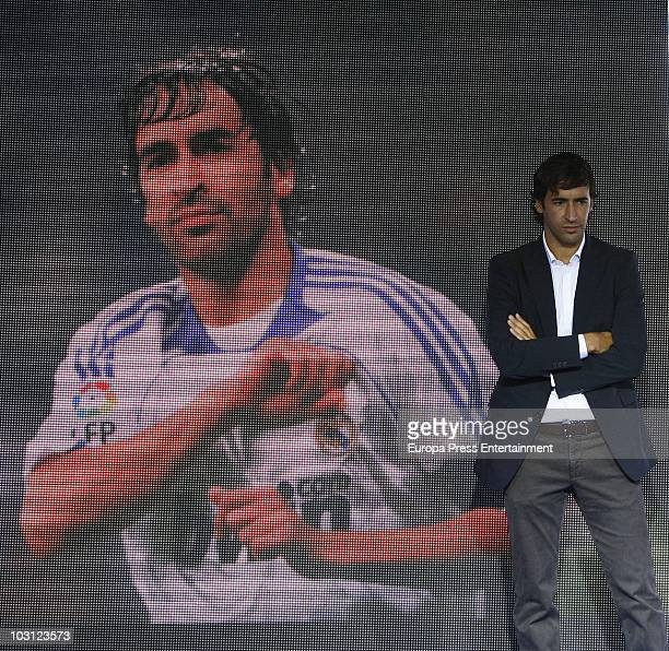 Spanish football player Raul Gonzalez talks during a press conference at Estadio Santiago Bernabeu on July 26 2010 in Madrid Spain Raul confirmed...