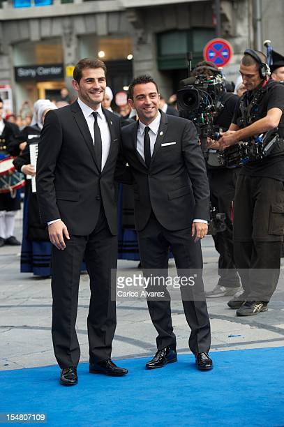 Spanish football players Xavi Hernandez and Iker Casillas attend the Prince of Asturias Awards 2012 ceremony at the Campoamor Theater on October 26...