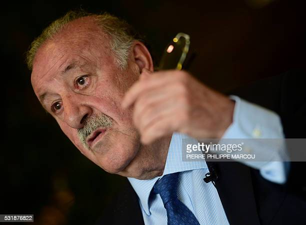 Spanish football team's coach Vicente del Bosque gestures during an AFP interview ahead of the Euro 2016 competion at Soccer City in Las Rozas near...