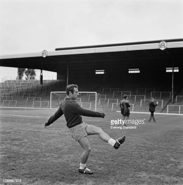 Spanish footballer Francisco Gento training at Arsenal's Highbury Stadium, North London, UK, 24th May 1967.