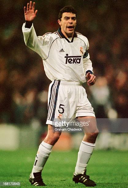 Spanish footballer Manuel Sanchis of Real Madrid during a UEFA Champions League quarterfinal first leg match against Dynamo Kyiv at Santiago Bernabeu...