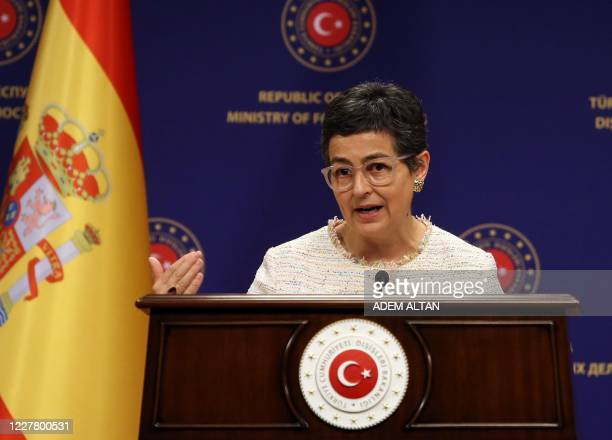 Spanish Foreign Affairs and European Union and Cooperation Minister Arancha Gonzalez Laya speaks during a joint press conference with her Turkish...