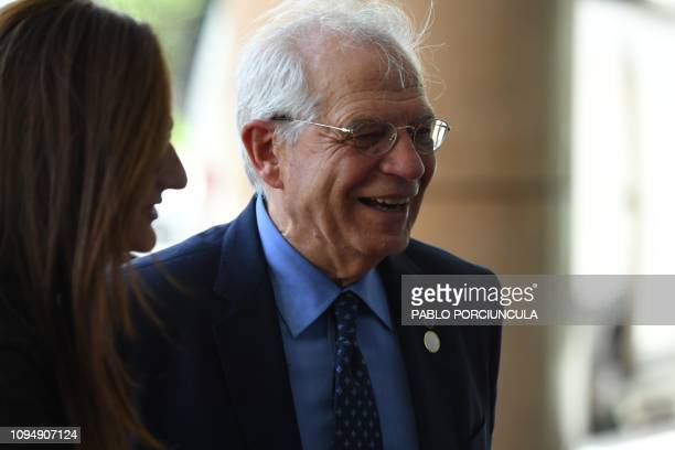 Spanish Foreign Affairs Minister Josep Borrell arrives for a meeting on Venezuela in Montevideo on February 7 2019 An international meeting to...
