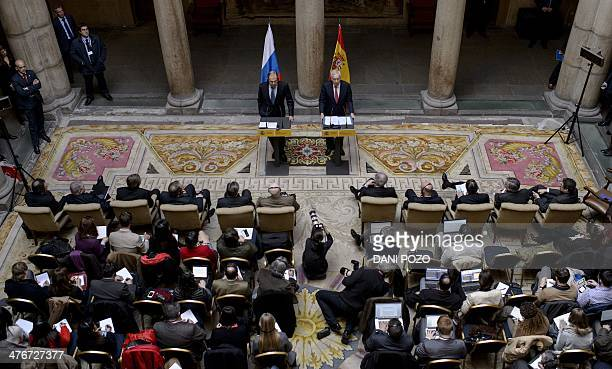 Spanish Foreign Affairs Minister Manuel GarciaMargallo gives a joint press conference with Russian Foreign Affairs Minister Sergei Lavrov at the...