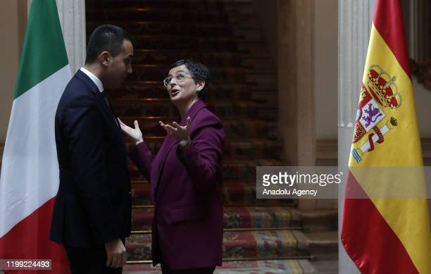 Spanish Foreign Minister Arancha Gonzalez Laya meets with Italian Foreign Minister Luigi Di Maio at the Foreign Ministry Building in Spain Madrid on...