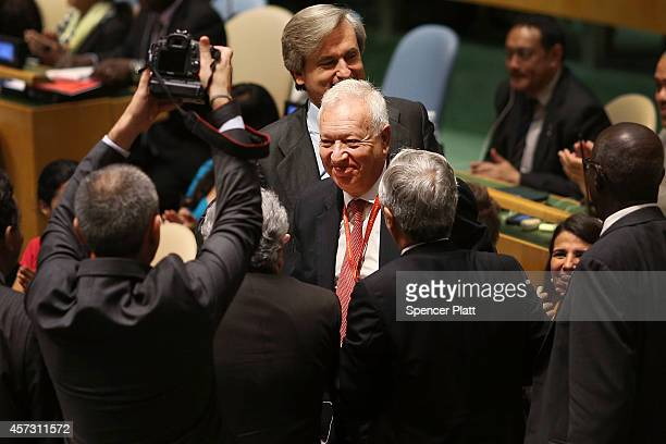 Spanish Foreign Minister Jose Manuel GarcaMargallo smiles after beating out Turkey for a seat on the United Nations Security Council on October 16...