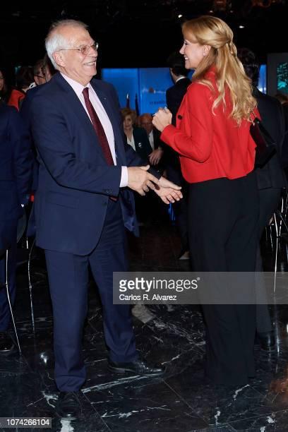 Spanish Foreign Minister Josep Borrell and Esther Alcocer Koplowitz attend '40 Años de Diplomacia en Democracia Una Historia de Exito' exhibition at...