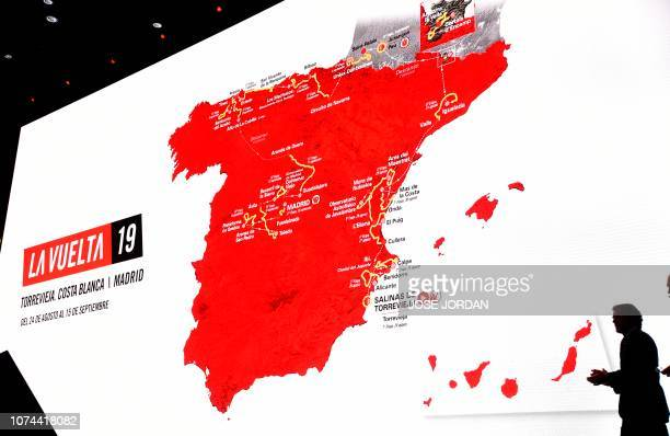 Spanish former cyclist, currently TV journalist, Pedro Delgado hosts the official presentation of the 74h La Vuelta cycling tour of Spain 2019, in...