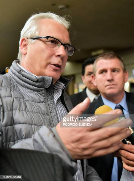 Spanish former judge Baltasar Garzon, lawyer of Wikileaks founder Julian Assange, talks to the press shortly after arriving at Mariscal Sucre...