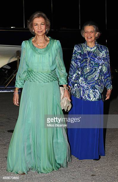 Spanish former Queen Sofia with her sister arrives for a private dinner organized by former King Constantine II of Greece and former Queen AnneMarie...