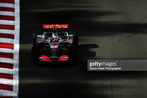 Spanish Formula One driver Fernando Alonso in his McLaren MP4-22 V8 Formula One car at the 2007 Belgian Grand Prix held at the Spa-Francorchamps...