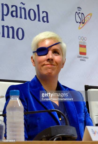 Spanish Formula One driver Maria de Villota attends press conference on October 11 2012 in Madrid Spain This was her first press conference since...