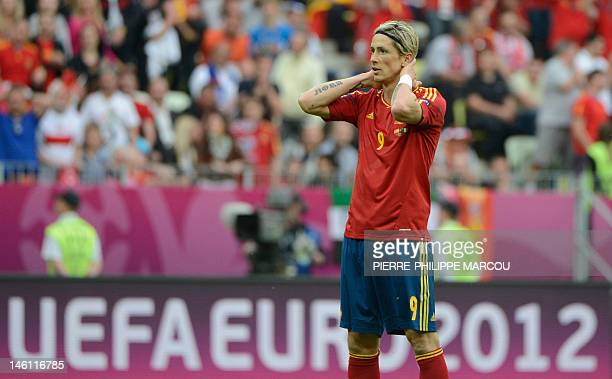 Spanish forward Fernando Torres reacts during the Euro 2012 championships football match Spain vs Italy on June 10 2012 at the Gdansk Arena AFP PHOTO...