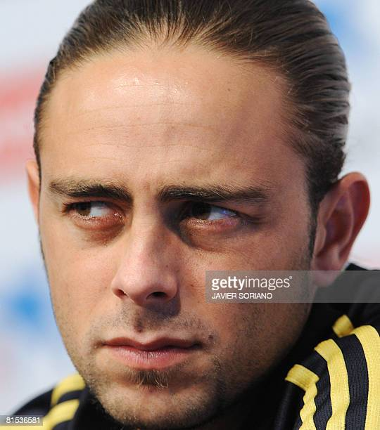 Spanish forward Sergio Garcia attends a press conference after a training session on June 12 2008 in Neustif near Innsbruck Spain play in group D...