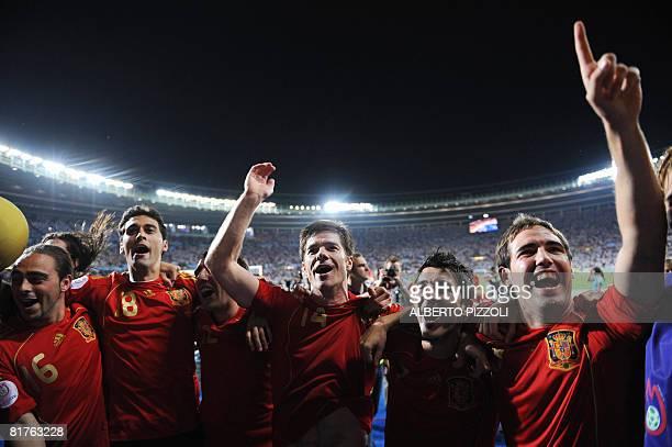Spanish forward Sergio Garcia Spanish defender Alvaro Arbeloa Spanish midfielder Santiago Cazorla Spanish midfielder Xabi Alonso and Spanish forward...