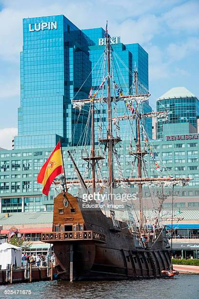 Spanish galleon Andalucia tied up on Baltimore waterfront