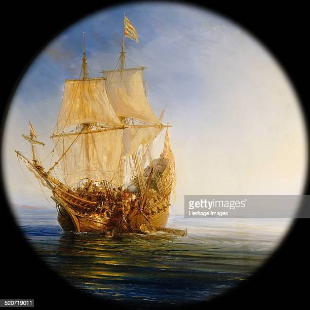 Spanish Galleon taken by the Pirate Pierre le Grand near the coast of Hispaniola in 1643 Found in the collection of Musée de l'Histoire de France...