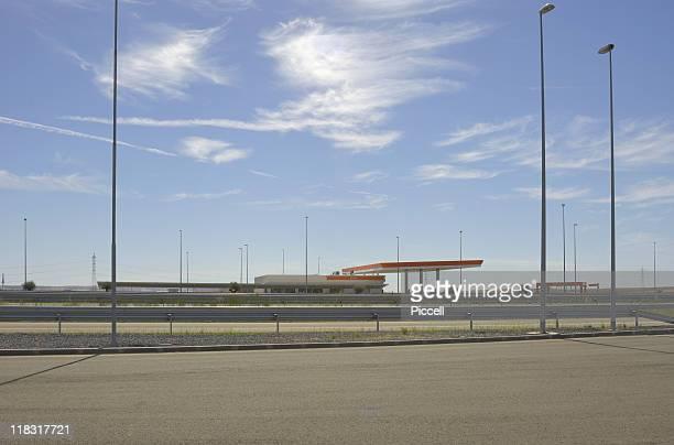 Spanish gas station on empty motorway