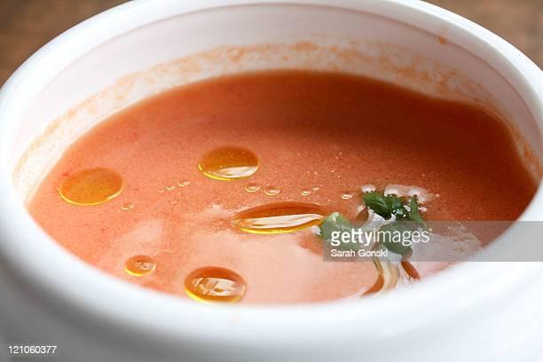 Spanish gazpacho in white bowl