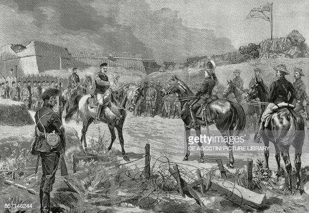 Spanish General Jose Toral y Velazquez surrendering to American troops Santiago de Cuba July 1898 SpanishAmerican war Cuba 19th century
