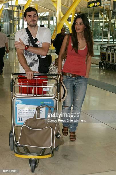 Spanish goalkeeper Iker Casillas and his girlfriend Spanish sport journalist Sara Carbonero are seen sighting at Barajas Airport on July 19 2010 in...