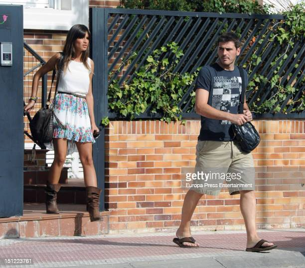 Spanish goalkeeper Iker Casillas and Sara Carbonero are seen on September 3 2012 in Madrid Spain