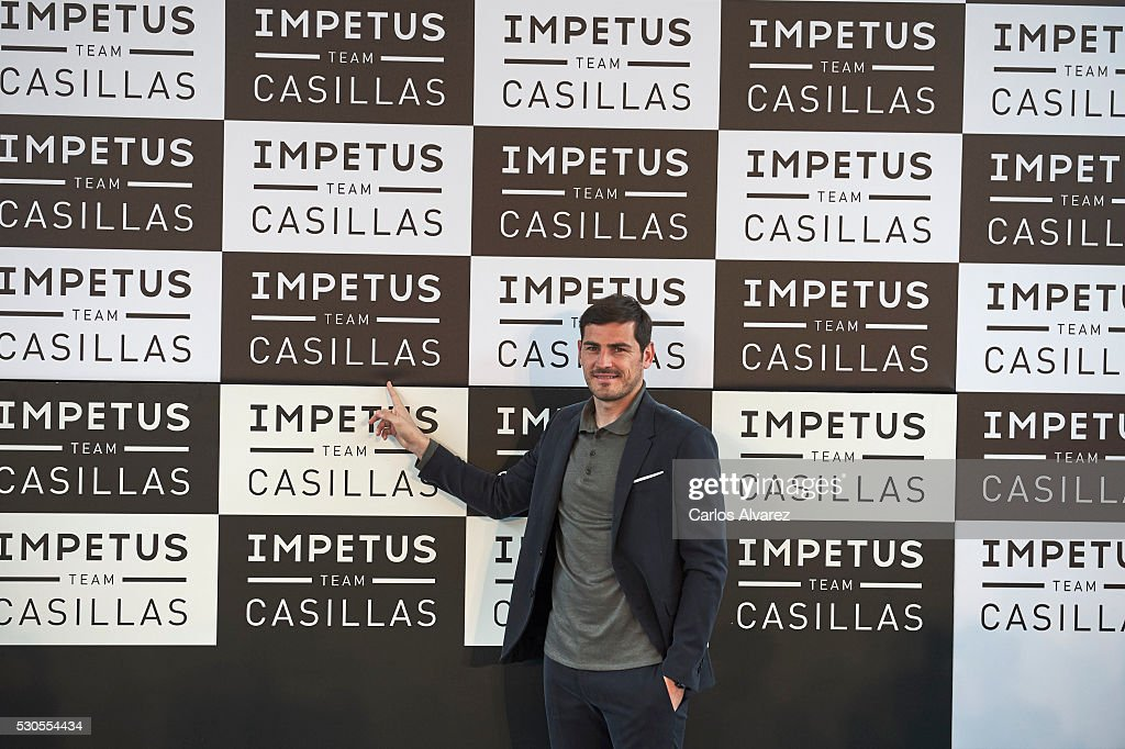 Spanish goalkeeper Iker Casillas presents 'Impetus Team Casillas' collection at the COAM on May 11, 2016 in Madrid, Spain.