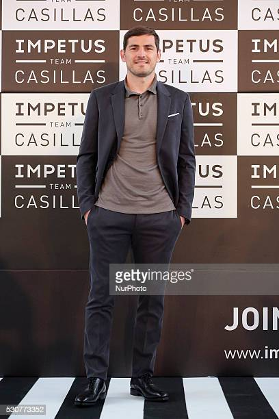 Spanish goalkeeper Iker Casillas presents quotImpetus Team Casillasquot collection at the COAM on May 11 2016 in Madrid Spain