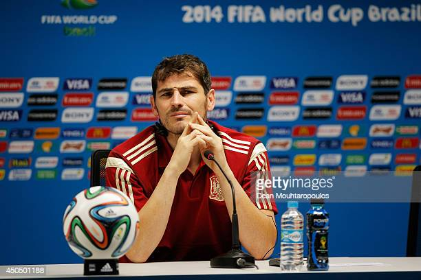 Spanish goalkeeper Iker Casillas speaks to the media during the Spain Press Conference ahead of the 2014 FIFA World Cup Group B match between Spain...