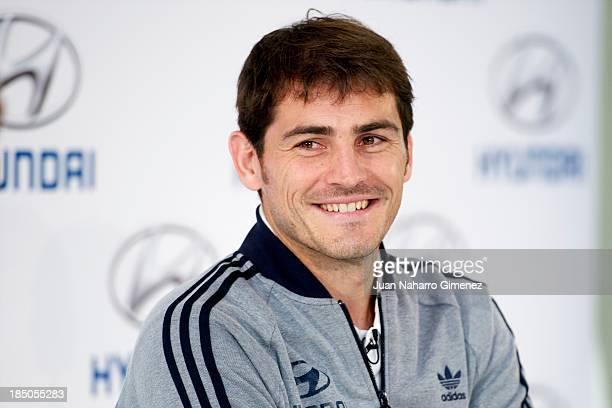 Spanish goalkeeper of Real Madrid Iker Casillas attends Hyundai Masterclass at Polideportivo Municipal de Boadilla del Monte on October 17 2013 in...