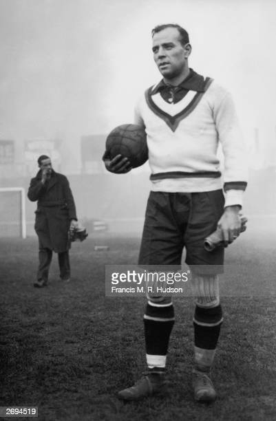 Spanish goalkeeper Ricardo Zamora training at Stamford Bridge before an international game against England at Highbury