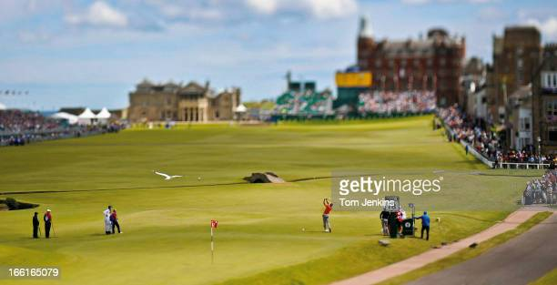 Spanish golfer Alvaro Quiros tees off at the 18th hole in the final round of the 2010 British Open Golf Championship at the Royal and Ancient Golf...