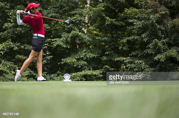 Spanish golfer Azahara Munoz tees off during the final round of the LGPA International Crown at Caves Valley Golf Club in Owings Mills MD July 27...