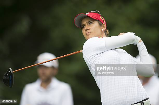 Spanish golfer Azahara Munoz tees off during the first round of the LGPA International Crown at Caves Valley Golf Club in Owings Mills Maryland July...