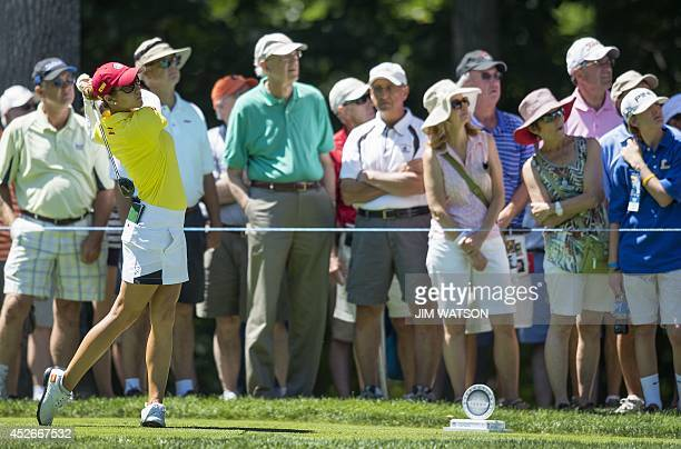 Spanish golfer Azahara Munoz tees off during the second round of the LGPA International Crown at Caves Valley Golf Club in Owings Mills Maryland on...