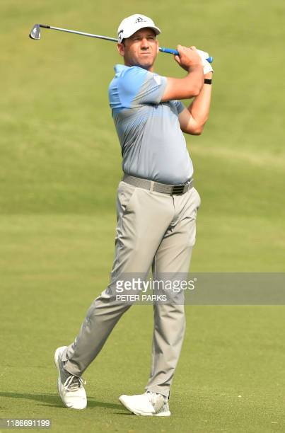 Spanish golfer Sergio Garcia hits a ball on the fairway at the 4th hole on day two of the Australian Open golf tournament at the Australian Golf Club...
