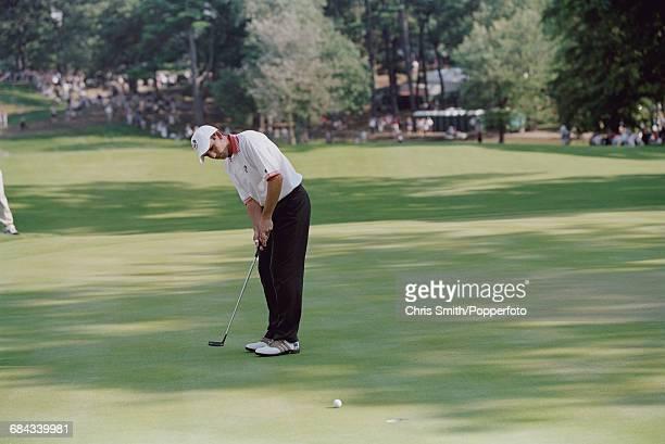 Spanish golfer Sergio Garcia pictured in action putting on a green for Team Europe during play to lose to Team USA in the 1999 Ryder Cup 145 135 at...