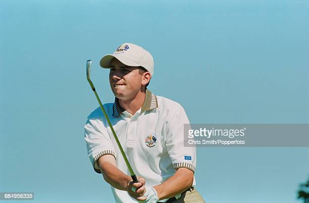 Spanish golfer Sergio Garcia pictured in action using a driver to play a shot for Team Europe during play to lose to Team USA in the 1999 Ryder Cup...